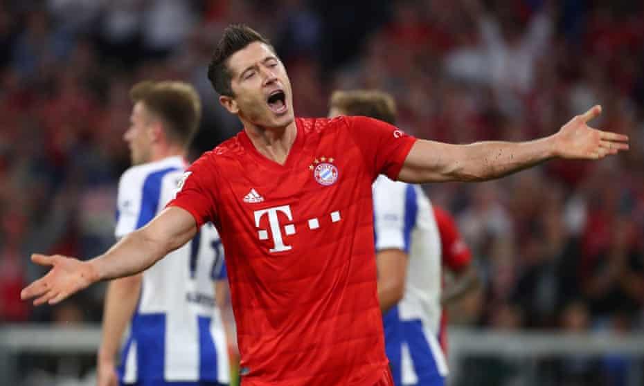 Robert Lewandowski scored both of Bayern Munich's goals but shows his frustration during the 2-2 draw against Hertha Berlin.