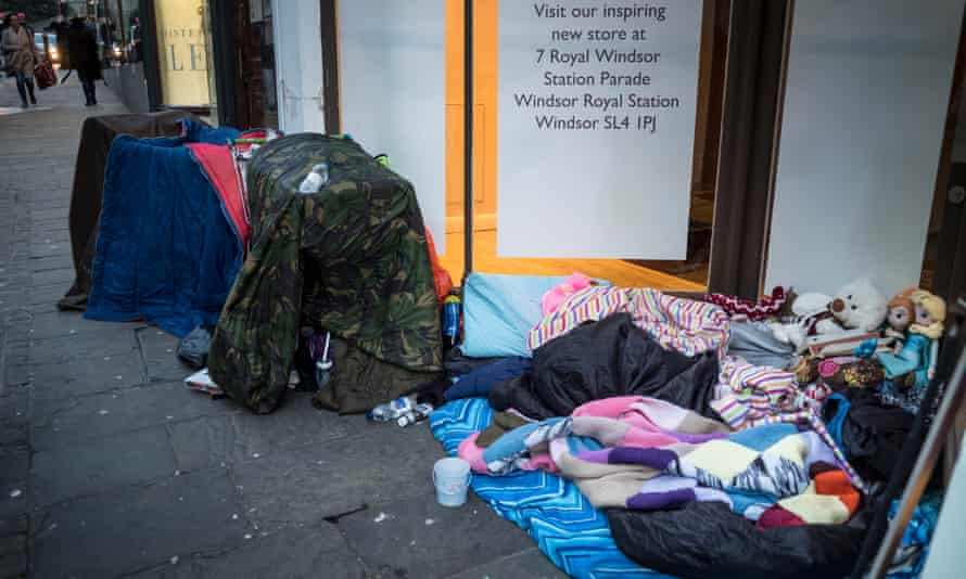 A homeless person's belongings on a street in Windsor.