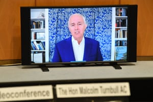 Former prime minister Malcolm Turnbull appears on video link before a Senate inquiry into media diversity in Australia.