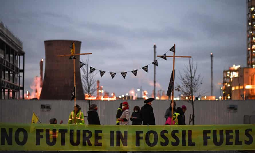 An Extinction Rebellion protest at the Ineos petrochemical refinery at Grangemouth