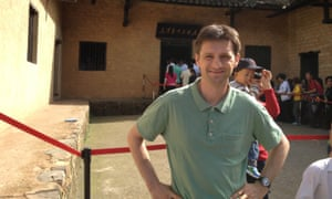 Author and broadcaster Michael Bristow outside Chairman Mao's home, Beijing, China.