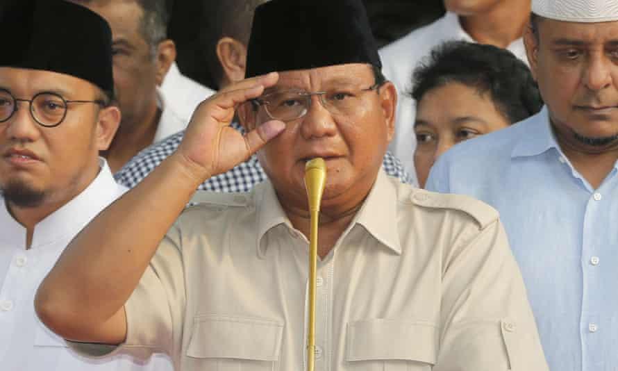 Prabowo Subianto speaks to the press