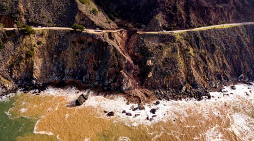 Heavy rains - an atmospheric river - caused a 150-foot section of Highway 1 to wash away into the sea.
