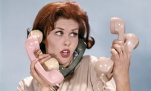 1960s woman on five phones at once