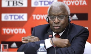Lamine Diack, pictured in 2015 during a press conference