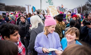 Kathleen Hale and McKetta at the Women's March in Washington.