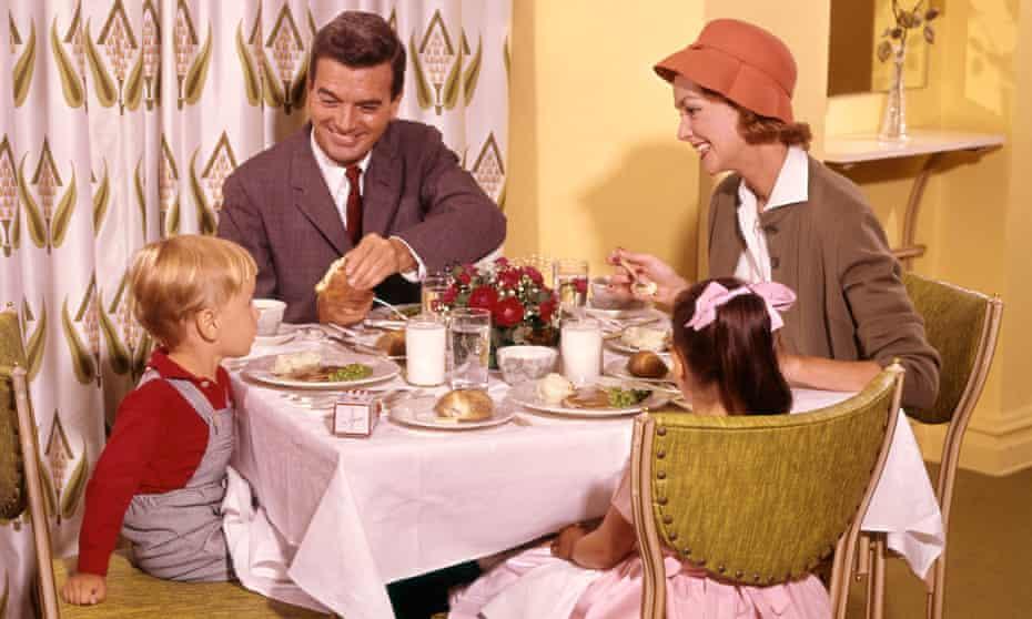 Family dining in restaurant