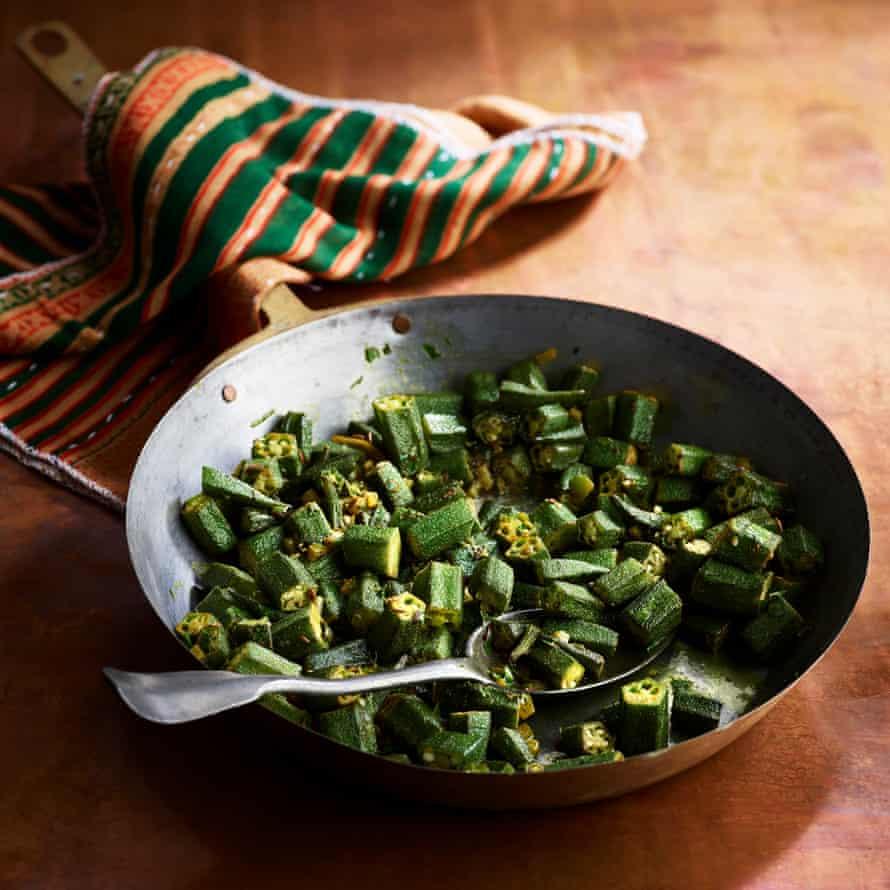 Gujarati Rasoi's binda (okra). Food styling Jules Mercer. Prop styling Kate Whitaker.