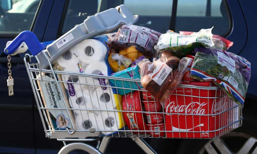 A shopping trolley outside a Tesco Extra supermarket