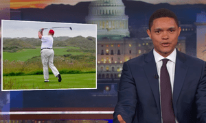 'If people really want to get Trump's attention, go protest on the golf course,' Trevor Noah says.
