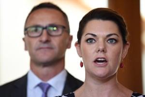 Australian Greens senators Richard Di Natale and Sarah Hanson-Young
