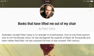 Peter Carey's recommendation in the Alexi app.