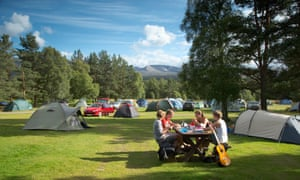 Enjoying a picnic at the campsite at Glenmore Forest Park near Aviemore
