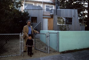 Frank Gehry and his son in front of his home, Santa Monica.