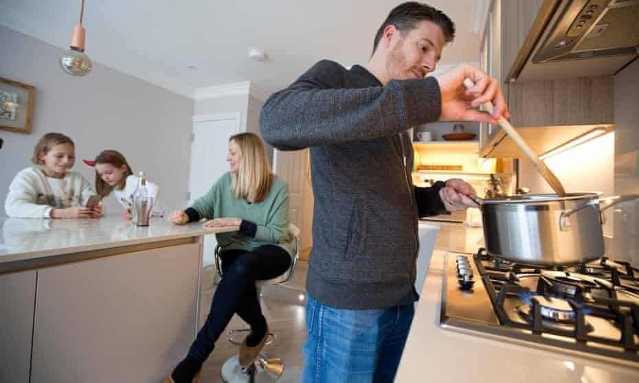 British family using gas utility at home