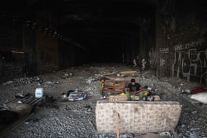 Migrant in railway tunnel