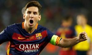 Barcelona's captain Lionel Messi enjoys the moment.