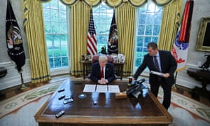 US President Donald Trump answers questions during an interview with Reuters in the Oval Office of the White House in Washington, US, 29 April 2020.