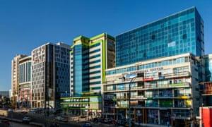 Colourful buildings line the Bole Road, Addis Ababa