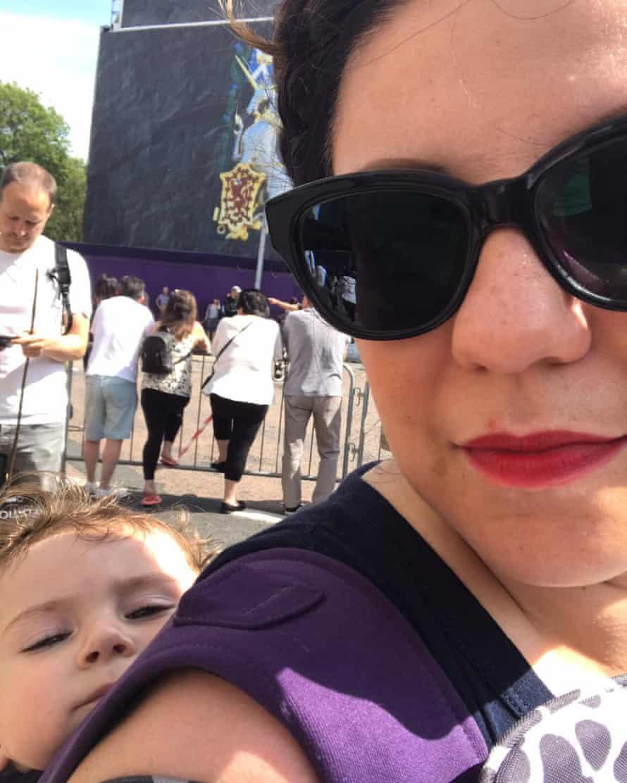 Manda and her three-year-old son Lorenzo in Edinburgh on Saturday.