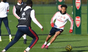 Reiss Nelson (right) has been involved in all of Arsenal's five games under new head coach Mikel Arteta.