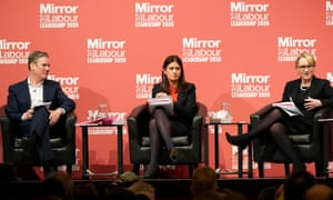 Keir Starmer, Lisa Nandy and Rebecca Long-Bailey at a Labour leadership hustings this month.