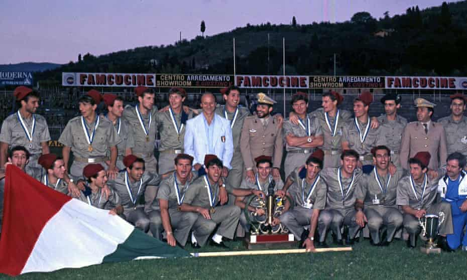 Italy's army team – including Gianluca Vialli – celebrate winning the 1987 Military World Cup.