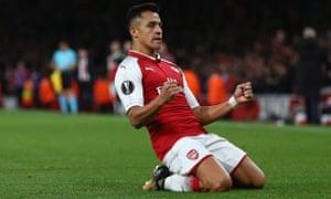 Arsenal's Alexis Sanchez celebrates scoring their second goal.
