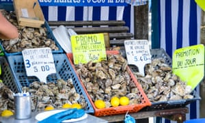 An oyster stall in Cancale.