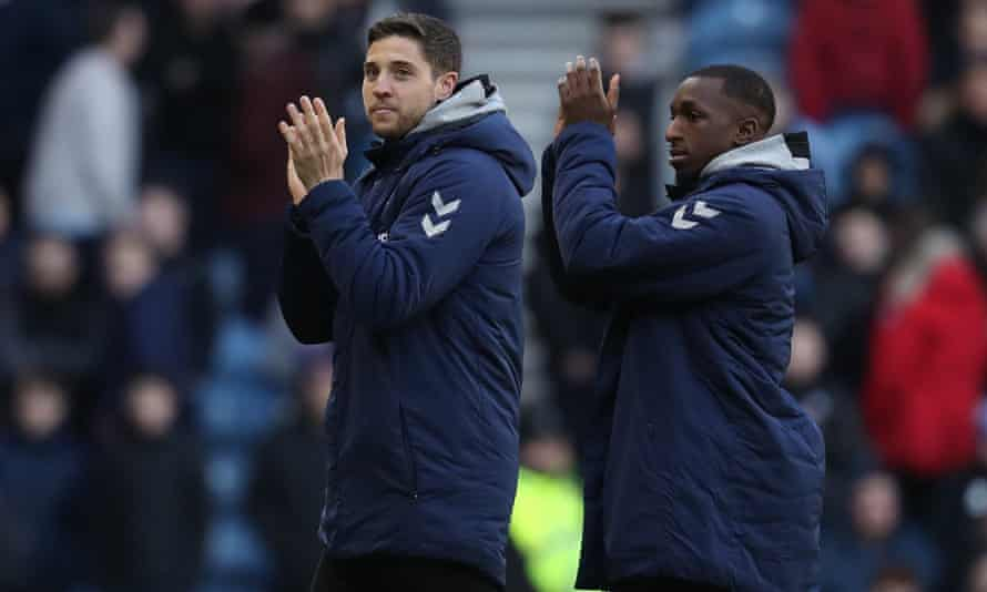 Matt Polster (left) greets fans after his arrival at Ibrox