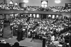 A packed meeting inside the 16th Street Baptist Church in Birmingham in May 1963
