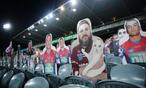 Cardboard cutouts of fans in the stands for the round 3 NRL match between the Sea Eagles and the Bulldogs in Gosford.
