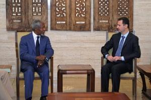 Syria's president, Bashar al-Assad, meets Annan in Damascus in 2012