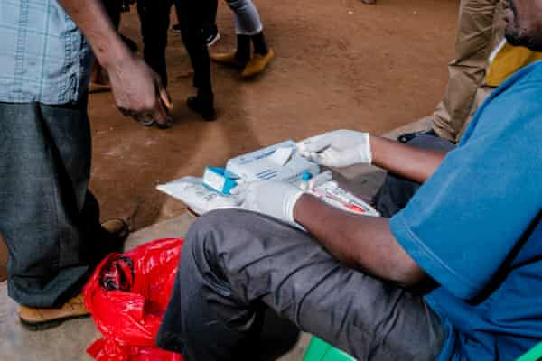 A man is tested for HIV