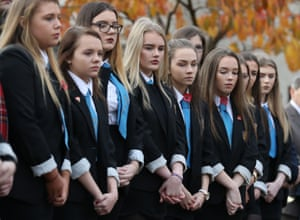 Bishopton, Scotland Pupils from Clydebank high school during a service of remembrance on Armistice Day at Erskine Home