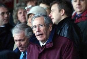 Former York City chairman Douglas Craig, centre, in the Bootham Crescent directors' box, 2002.