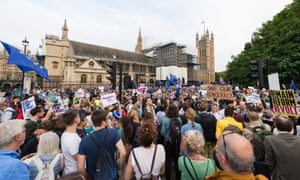 Demonstrators outside the Houses of Parliament call for prorogation to be stopped.