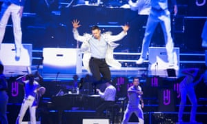 Jazz hands and stage leaps with Hugh Jackman.