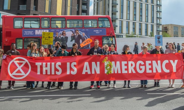 An ugent global issue … Extinction Rebellion protest in London on Friday.