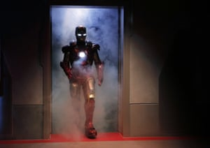 Hong Kong: A performer dressed as the Marvel comic character Iron Man