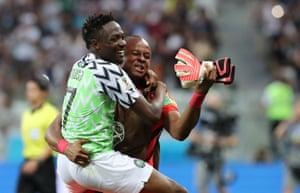 Ahmed Musa and goalkeeper Ikechukwu Ezenwa celebrate their 2-0 win over Iceland.