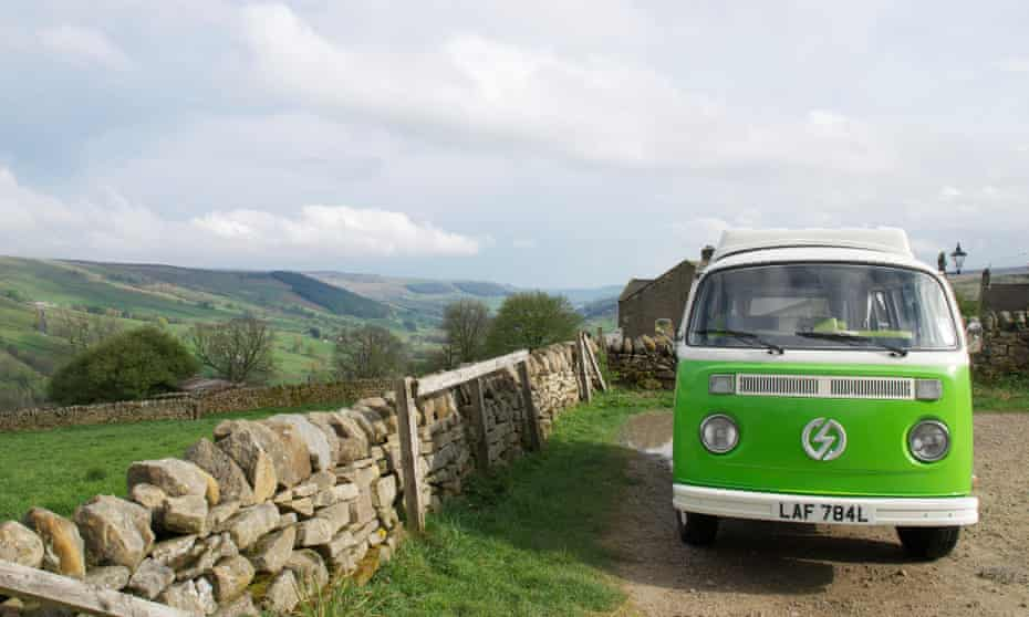 Van-glorious: the all-electric VW campervan wends its way up to Middlesmoor