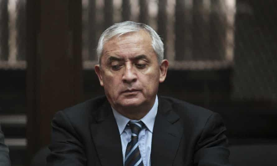 Former president Otto Pérez Molina attends a hearing at the supreme court of justice in Guatemala City on Tuesday.