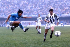 Maradona, of SSC Napoli, in action during the Serie A match against Juventus in 1986.