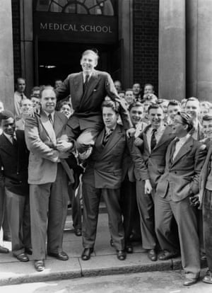 Bannister is chaired by his fellow medical students at St Mary's Hospital, Paddington, the day after he ran his record-breaking sub-four minute mile.