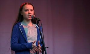 Swedish environmental activist Greta Thunberg speaks in London.