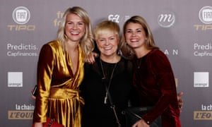Lyon's Ada Hegerberg (left) and her sister Andrine, who plays for PSG, pictured with their mother.