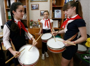 Volgograd, RussiaGirls practice drumming as their school revives traditions of the Soviet pioneer youth organisation. Pupils are obliged to form detachments, wear red ties, salute and help senior villagers.