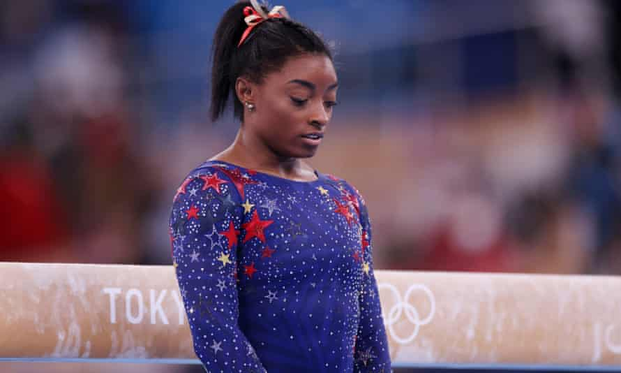 Simone Biles on day two of the Tokyo 2020 Olympic Games at Ariake Gymnastics Centre.