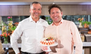 Outgoing Asda boss Andy Clarke pictured with TV chef James Martin